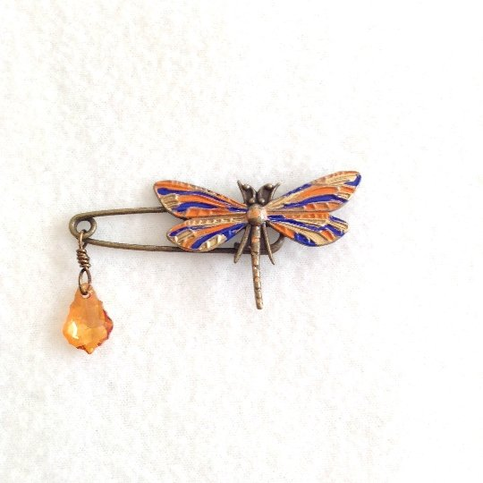 painted dragonfly brooch, baroque crystal shawl pin - StarzyiaShawl Pin