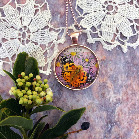 painted lady butterfly necklace, upcycled postage stamp - StarzyiaPostage Stamp Jewellery