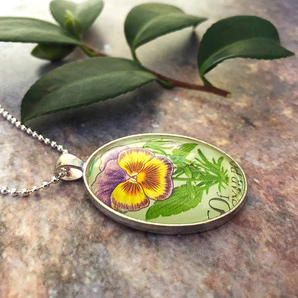 pansy flower necklace, featuring vintage 1968 postage stamp - StarzyiaVintage Postage Stamp Jewellery