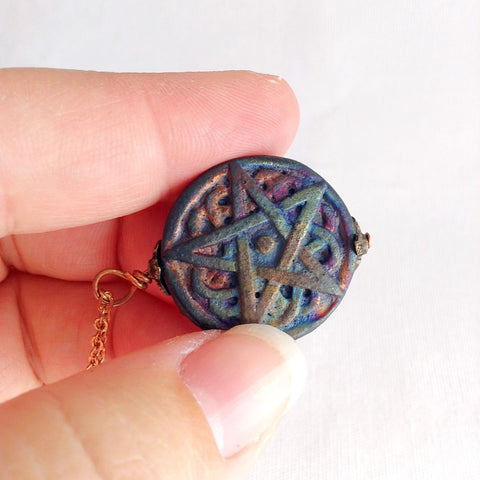 pentagram necklace, symbolic raku ceramic jewellery - StarzyiaNecklace