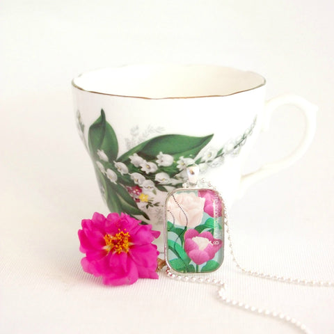 peony flower necklace, handmade with original postage stamp - StarzyiaPostage Stamp Jewellery