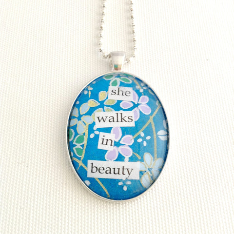 poetry quote pendant, she walks in beauty, Lord Byron poem - StarzyiaQuote Necklace