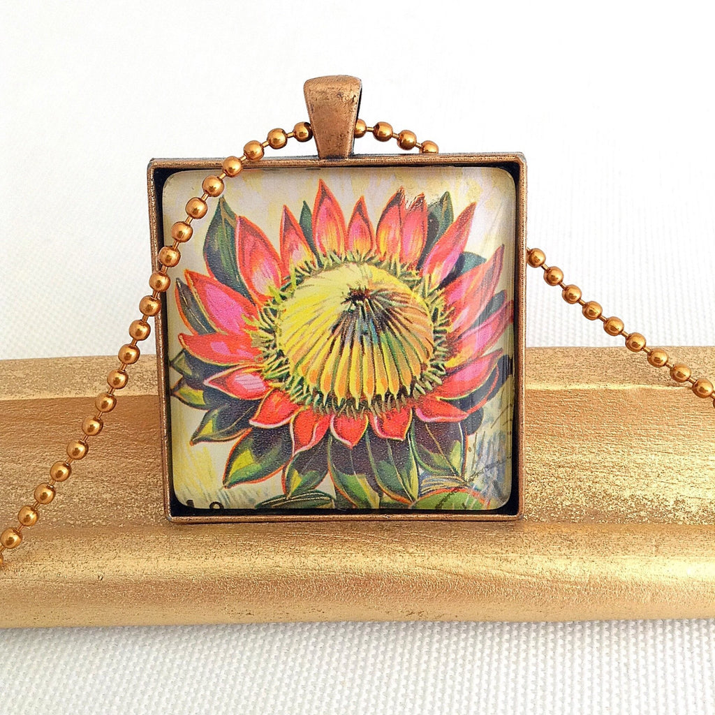 Protea flower pendant, vintage 1973 postage stamp - StarzyiaNecklace