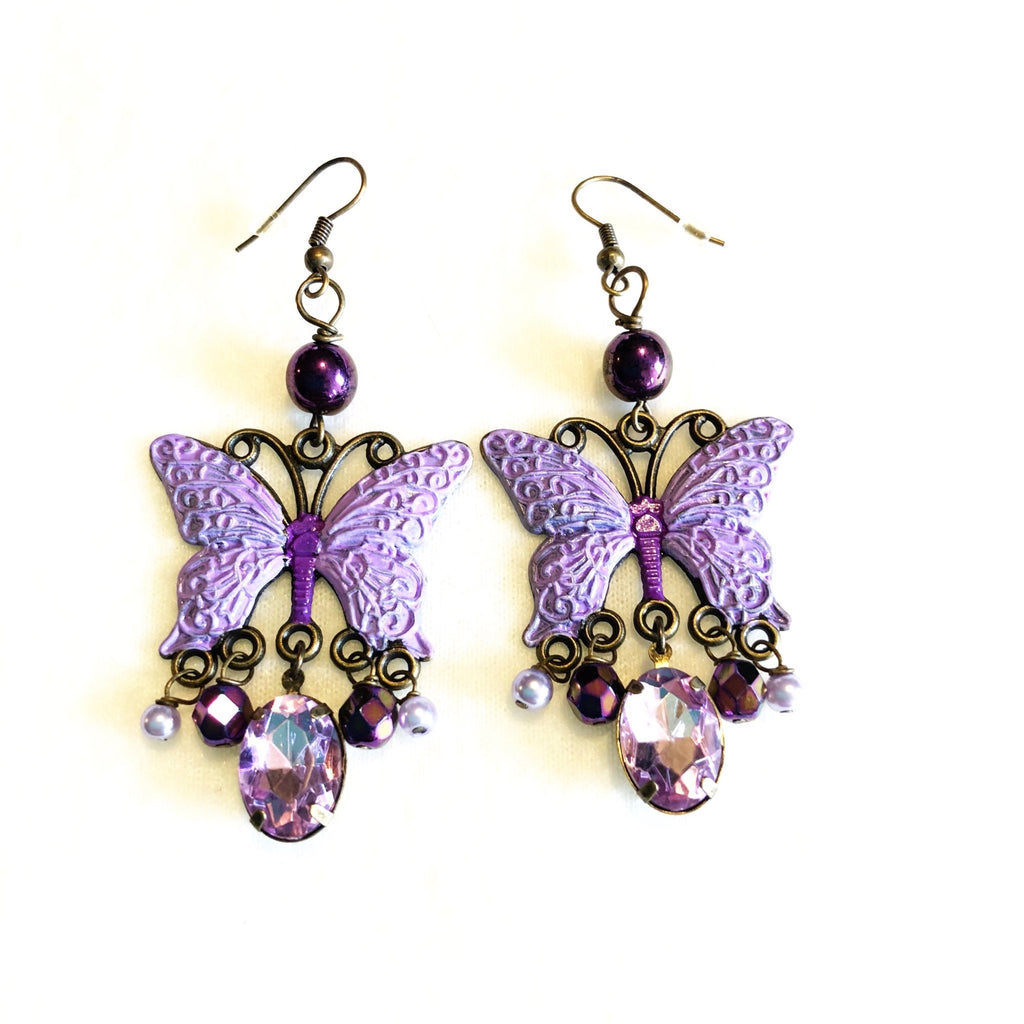 purple butterfly earrings, dreamy bohemian chandelier earring design - StarzyiaEarrings