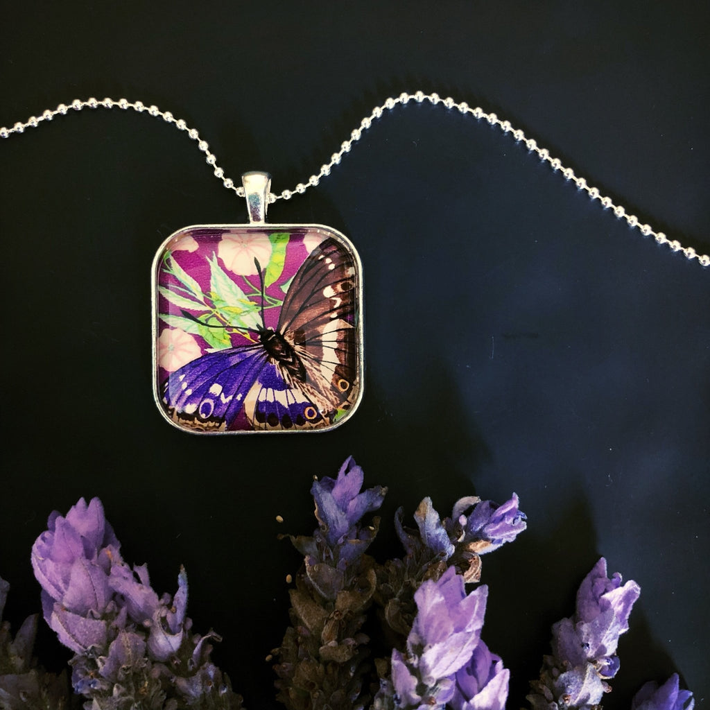 purple butterfly necklace, 1974 postage stamp pendant - StarzyiaVintage Postage Stamp Jewellery