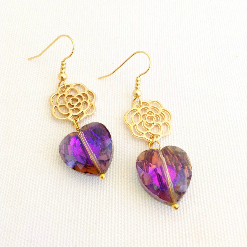 purple love heart earrings, with gold tone roses - StarzyiaEarrings