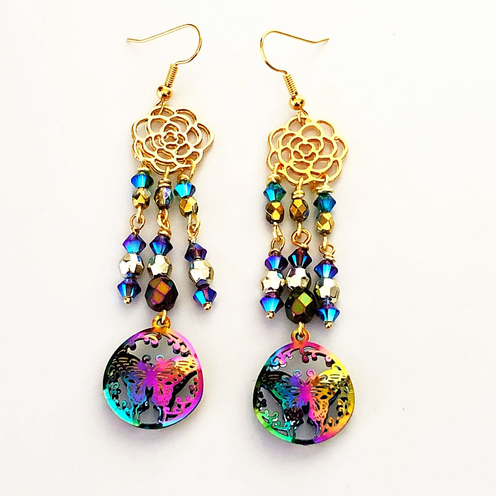 rainbow butterfly earrings with roses - StarzyiaEarrings