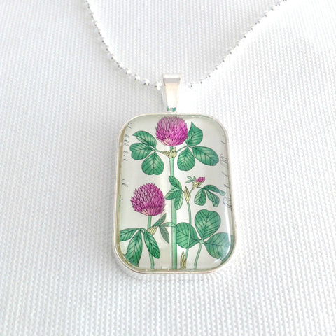 Red Clover necklace, flower postage stamp pendant, 1977 Deutsche Bundepost Berlin - StarzyiaVintage Postage Stamp Jewellery