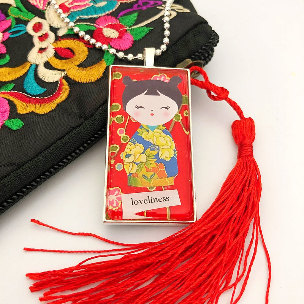 red kokeshi doll necklace, silver plated domino pendant - StarzyiaArt & Collage Pendants