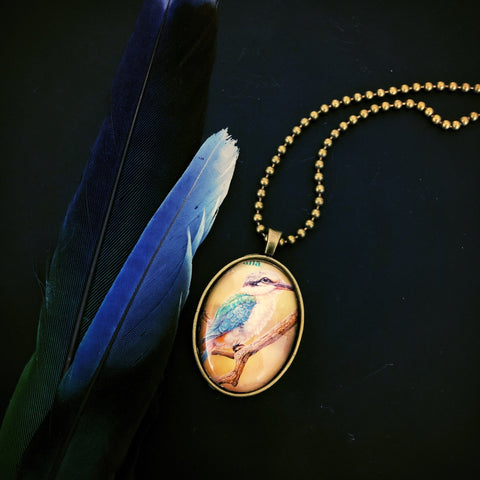 Redbacked Kingfisher necklace, unisex pendant, Australian gift - StarzyiaPostage Stamp Jewellery