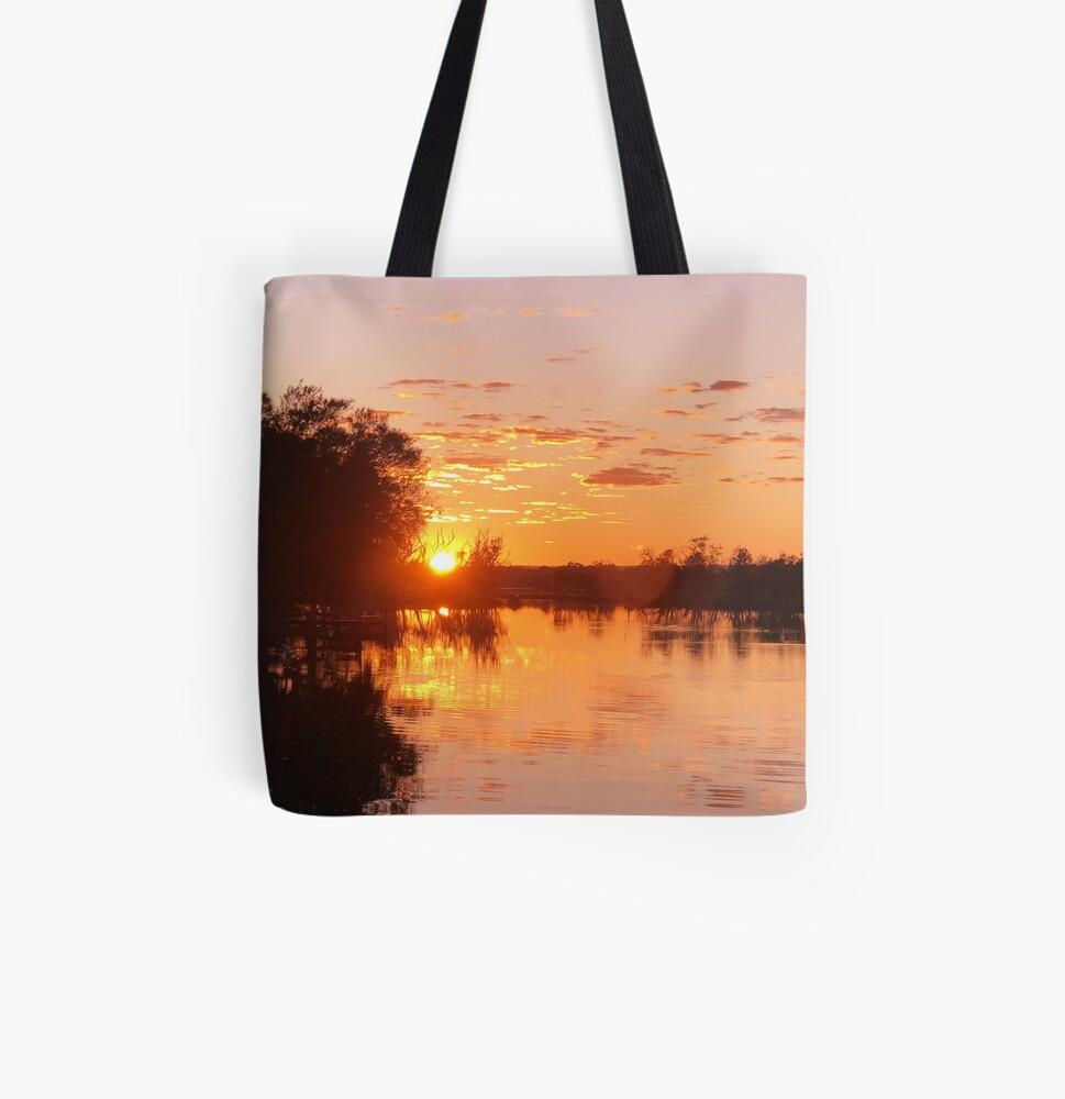 reusable tote or book bag, river sunrise - StarzyiaTote Bag