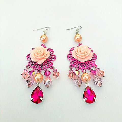 romantic rose chandelier earrings - StarzyiaEarrings