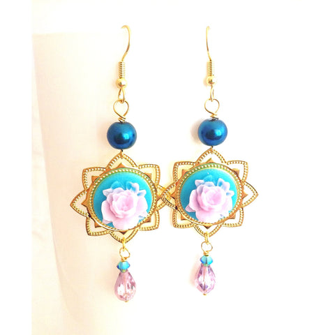 rose dangle earrings, sweet gypsy bohemian chandeliers - StarzyiaEarrings