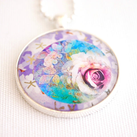 rose necklace, chiyogami paper collage, round pendant - StarzyiaArt & Collage Pendants