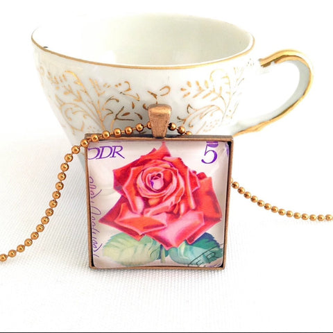 rose necklace, vintage postage stamp East Germany 1972 - StarzyiaVintage Postage Stamp Jewellery