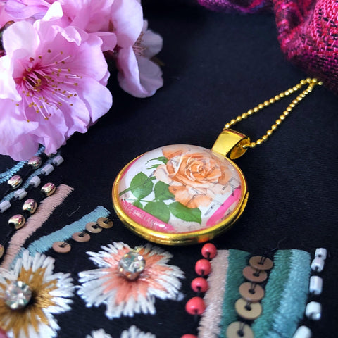 rose pendant necklace, 1975 postage stamp - StarzyiaVintage Postage Stamp Jewellery