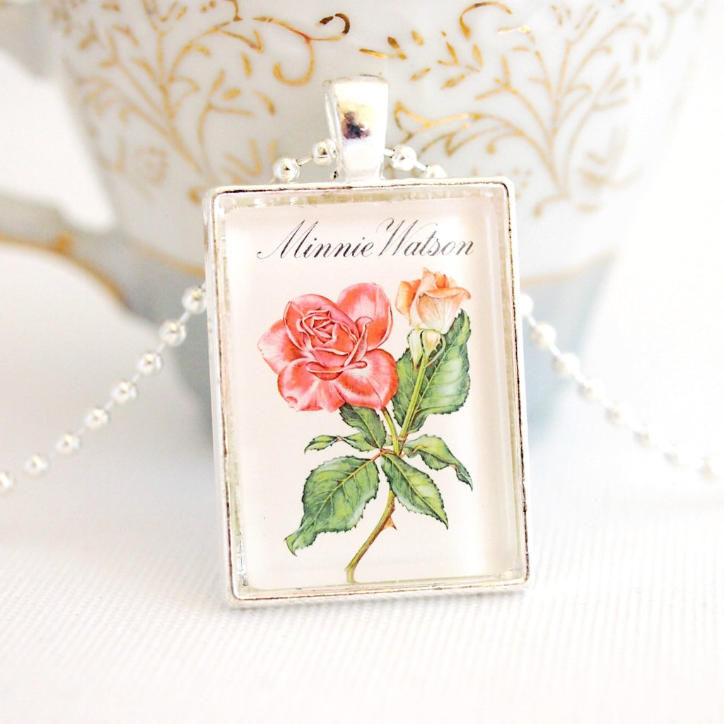 rose postage stamp necklace, 1982 - StarzyiaVintage Postage Stamp Jewellery