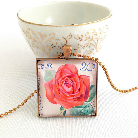 rose postage stamp necklace, DDR East Germany 1972 - StarzyiaVintage Postage Stamp Jewellery