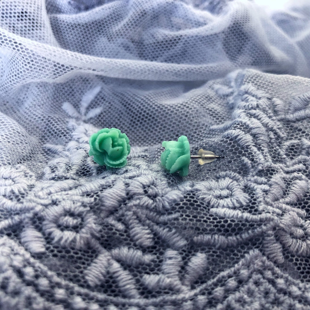 rose stud earrings, mint / teal / green - StarzyiaEarrings