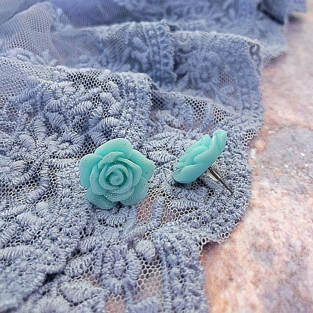 rose stud earrings, minty blue with glitter - StarzyiaEarrings