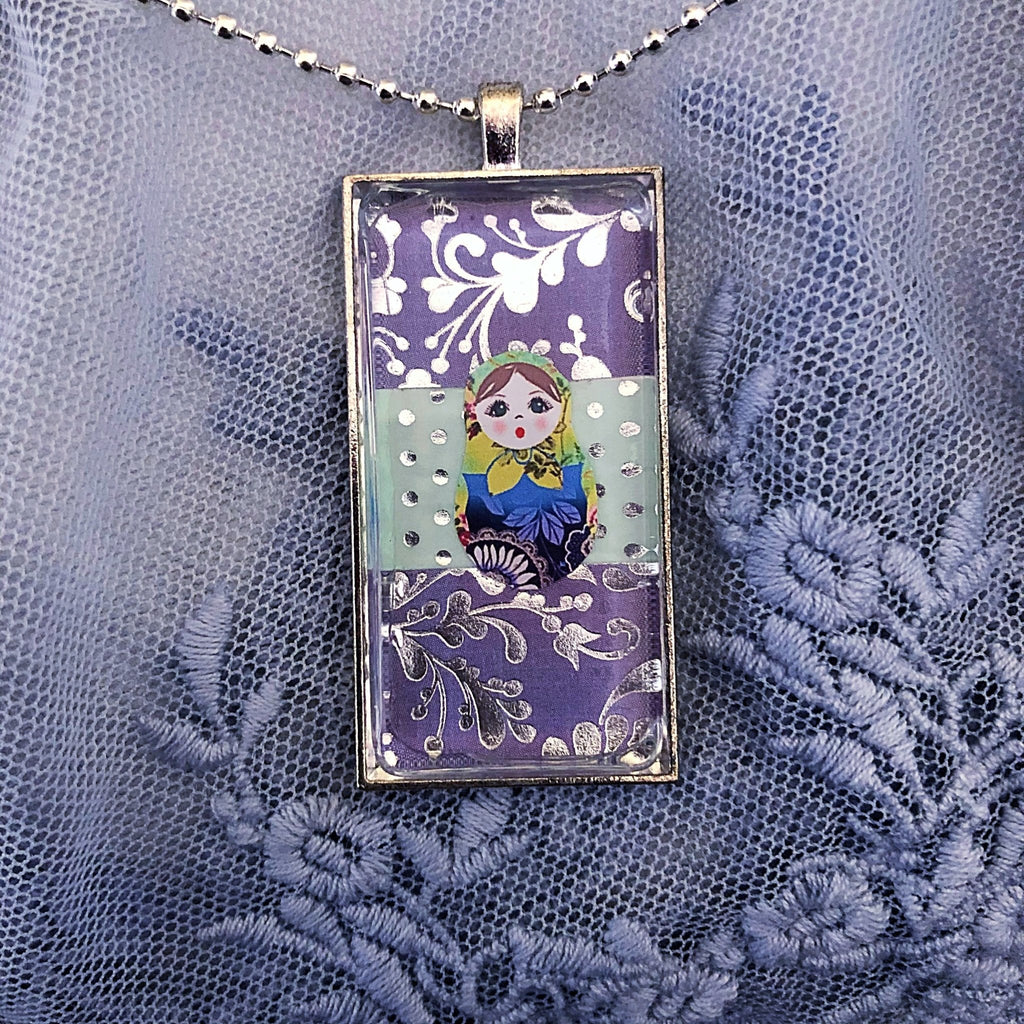 Russian doll necklace, lavender, mint green, silver plated domino - StarzyiaArt & Collage Pendants