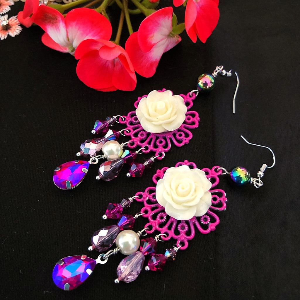 shabby rose chandelier earrings, hot pink and white - StarzyiaEarrings