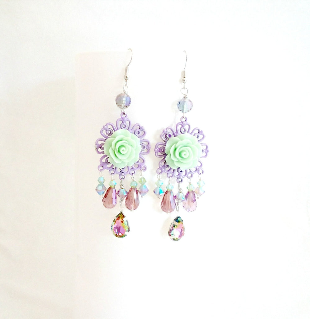 shabby rose chandelier earrings, romantic spring jewellery, green and lavender - StarzyiaEarrings