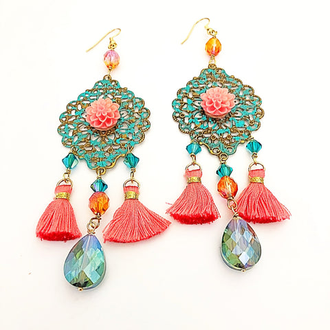 tassel earrings, floral motif with coral pink and verdigris - StarzyiaEarrings