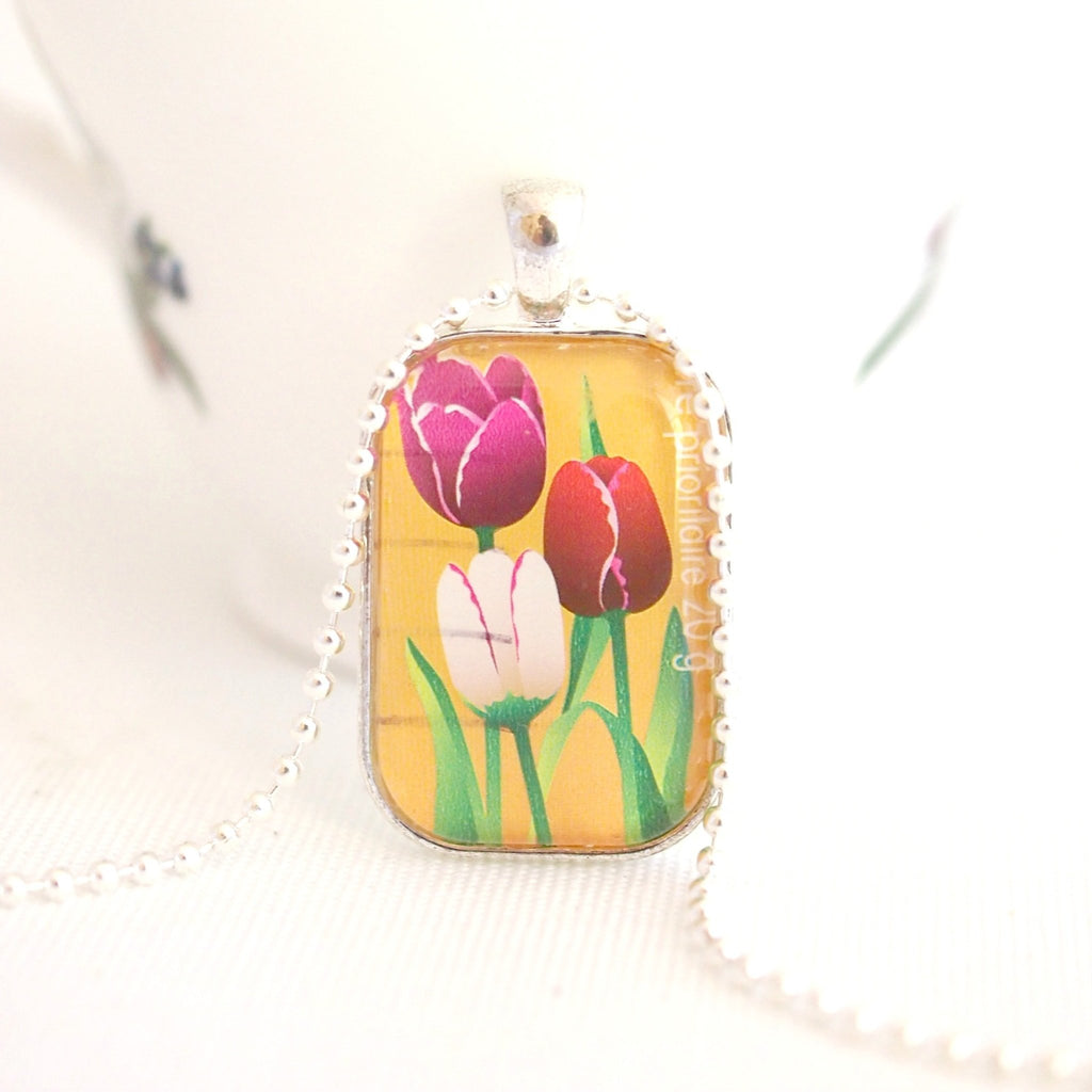 tulip flower necklace, upcycled postage stamp jewellery - StarzyiaPostage Stamp Jewellery