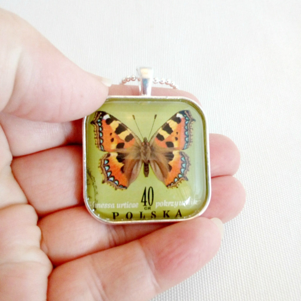 unisex butterfly necklace, vintage 1967 postage stamp - StarzyiaVintage Postage Stamp Jewellery