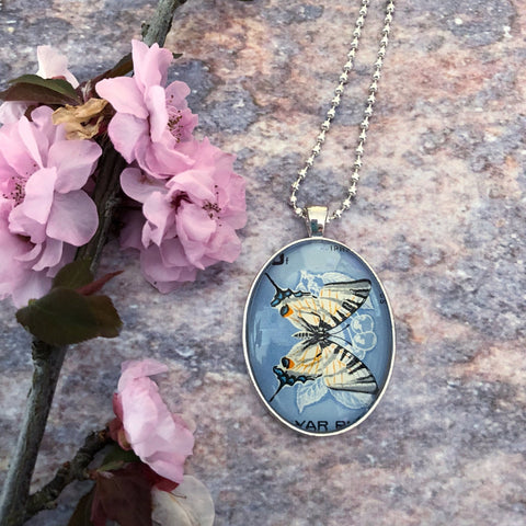 upcycled vintage stamp necklace, butterfly pendant - StarzyiaVintage Postage Stamp Jewellery