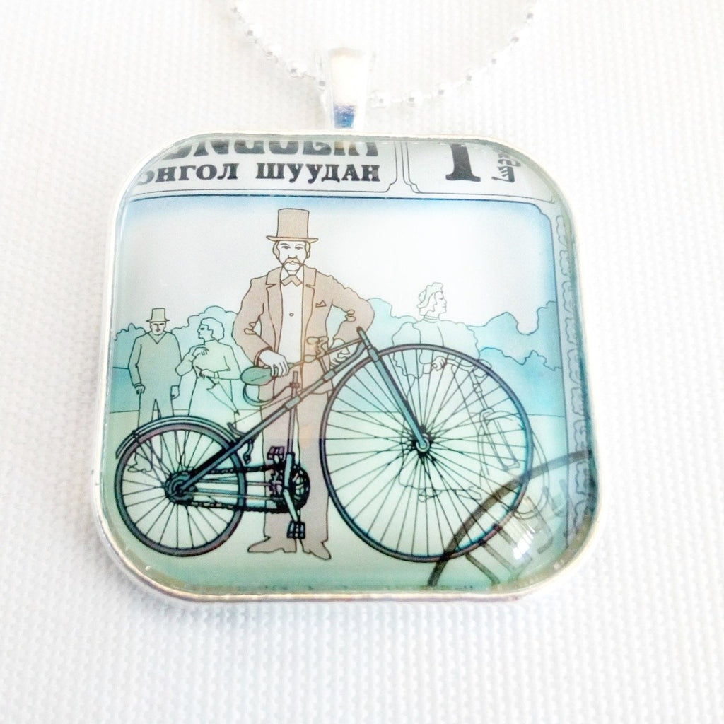 vintage bicycle necklace, handmade gift for cyclist - StarzyiaVintage Postage Stamp Jewellery