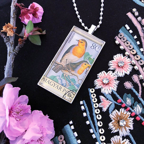 vintage postage stamp domino pendant, bird necklace - StarzyiaVintage Postage Stamp Jewellery