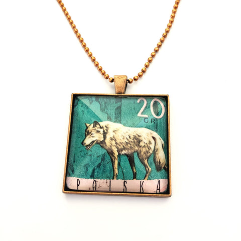 wolf pendant, handmade with vintage 1967 postage stamp, men's necklace - StarzyiaVintage Postage Stamp Jewellery