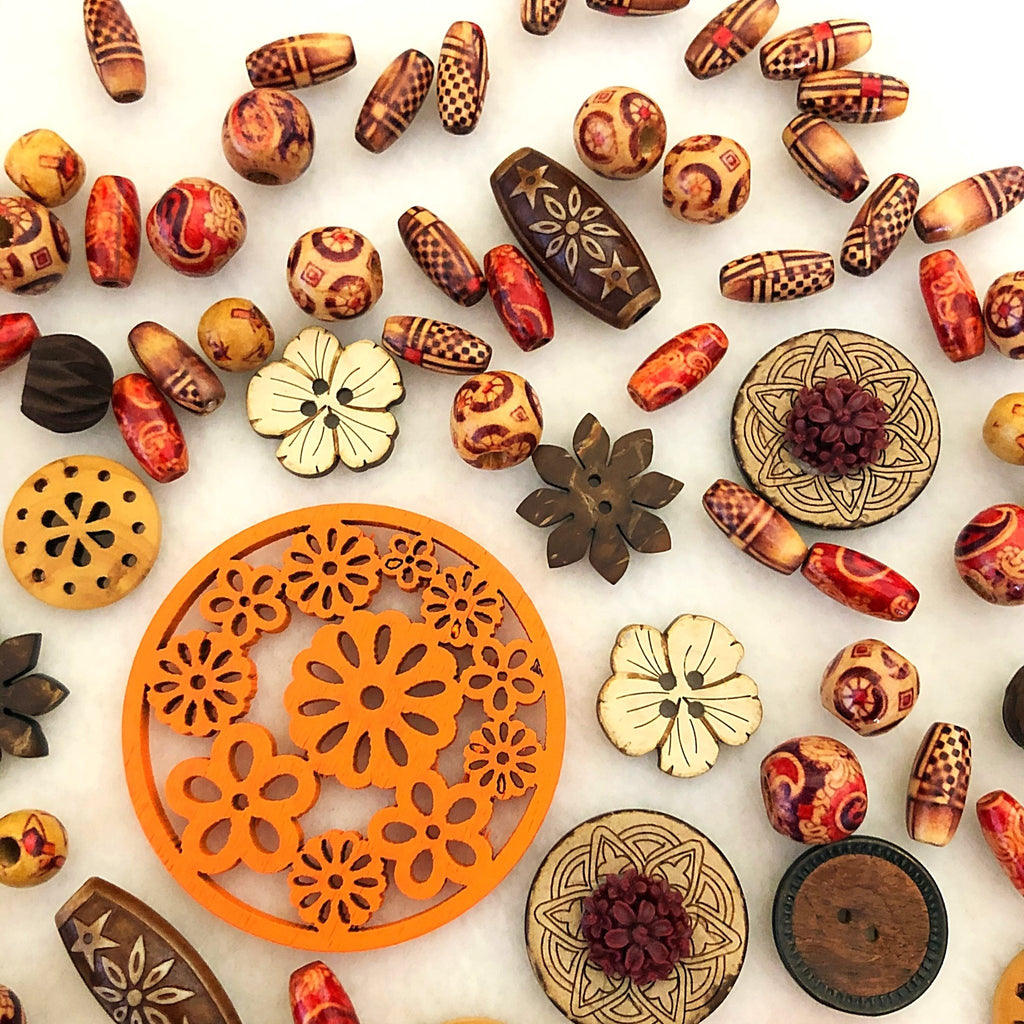 wood beads and buttons, 65g bag assortment - StarzyiaBeads