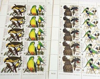 WWF Australia 1998 endangered bird postage stamps, mint unused collectible, postally valid - StarzyiaPostage Stamps