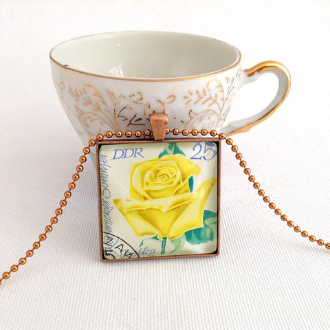 yellow rose necklace, 1972 postage stamp from East Germany - StarzyiaVintage Postage Stamp Jewellery