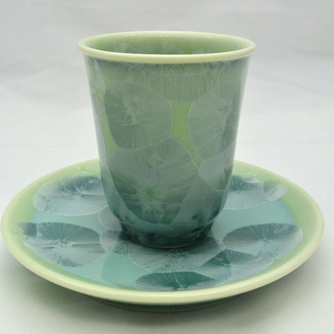 Flower Crystallization Cup&Saucer (M)  Green