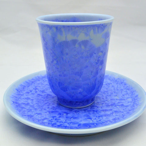Flower Crystallization Cup&Saucer (M) Blue