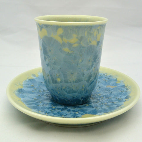 Flower Crystallization Cup&Saucer (M) Light Blue