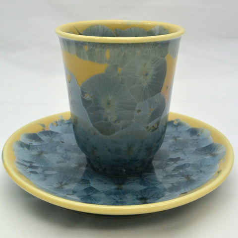 Flower Crystallization Cup&Saucer(M) Gray Blue [ Pre-Order ]