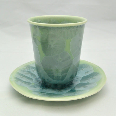 Flower Crystallization Cup&Saucer (S) Green