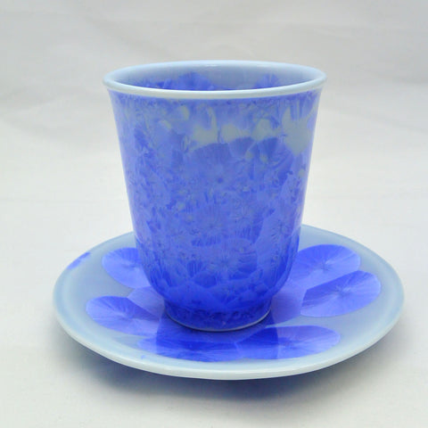 Flower Crystallization Cup&Saucer (S) Blue