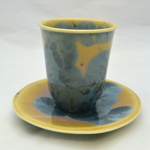Flower Crystallization Cup&Saucer (S) Gray Blue