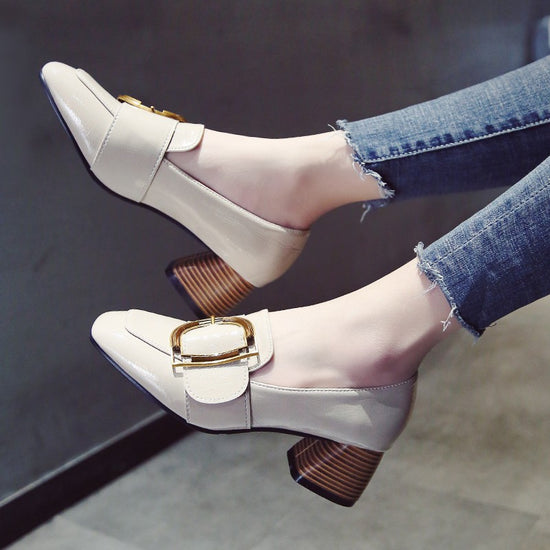 Mary Jane Shoes Pointed Thick Buckle Shoes