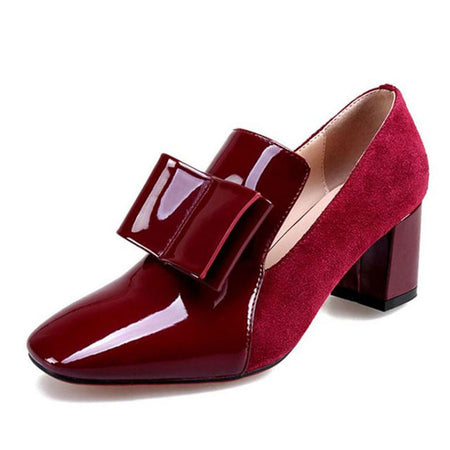 Women Bowknot Patent Leather Thick Heel Pumps