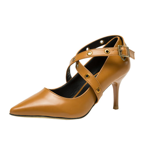 Women Cross Pointed Toe  Pumps