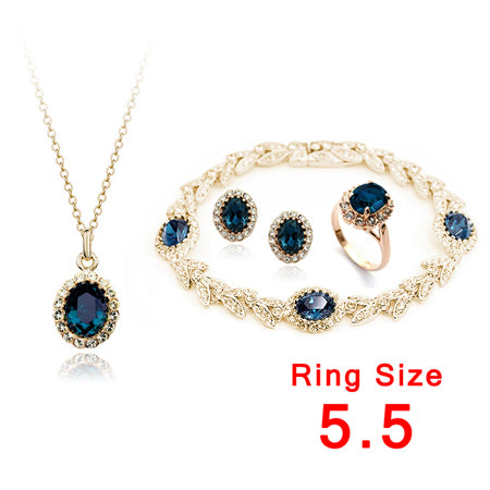 Rose Gold Color Blue Austrian Crystal Jewelry Set With 4 Pcs
