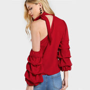 Asymmetric Sleeve Layered Blouse