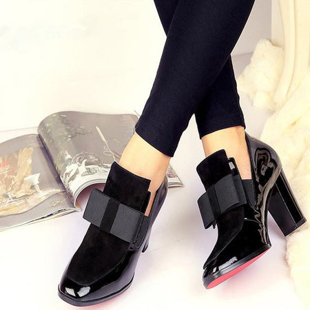 High Heel Square Toe Leather Pumps
